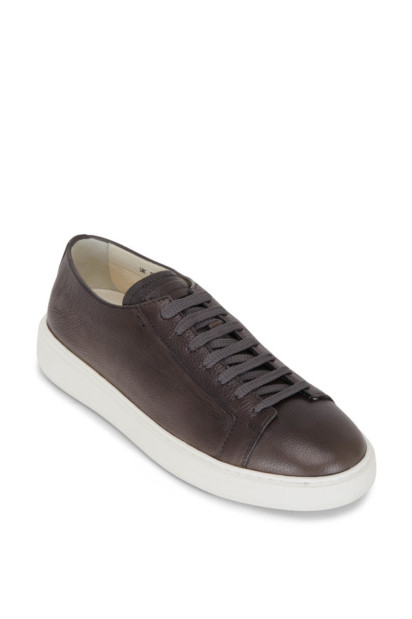 Santoni Biking Gray Grained Leather Sneaker