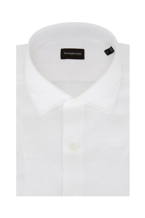 Ermenegildo Zegna Solid White Linen Classic Fit Sport Shirt