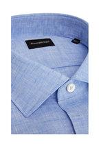Ermenegildo Zegna - Solid Light Blue Linen Classic Fit Sport Shirt