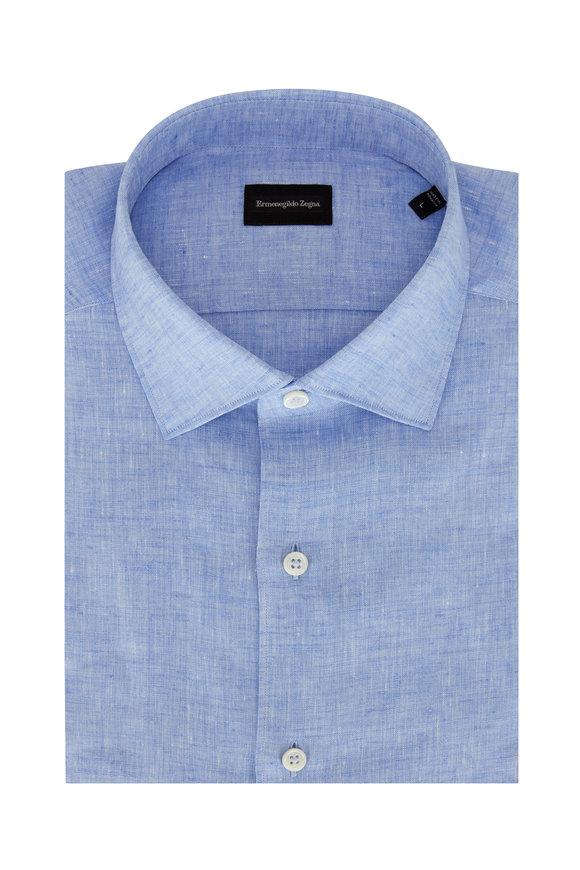 Ermenegildo Zegna Solid Light Blue Linen Classic Fit Sport Shirt