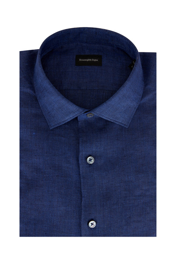 Ermenegildo Zegna Solid Indigo Linen Sport Shirt