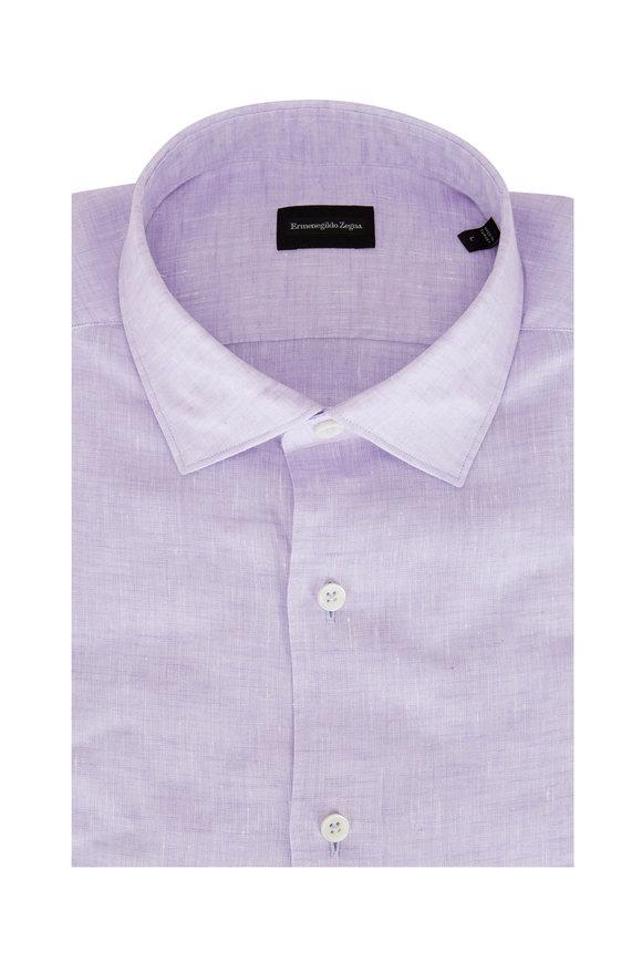 Ermenegildo Zegna Solid Lavender Linen Sport Shirt