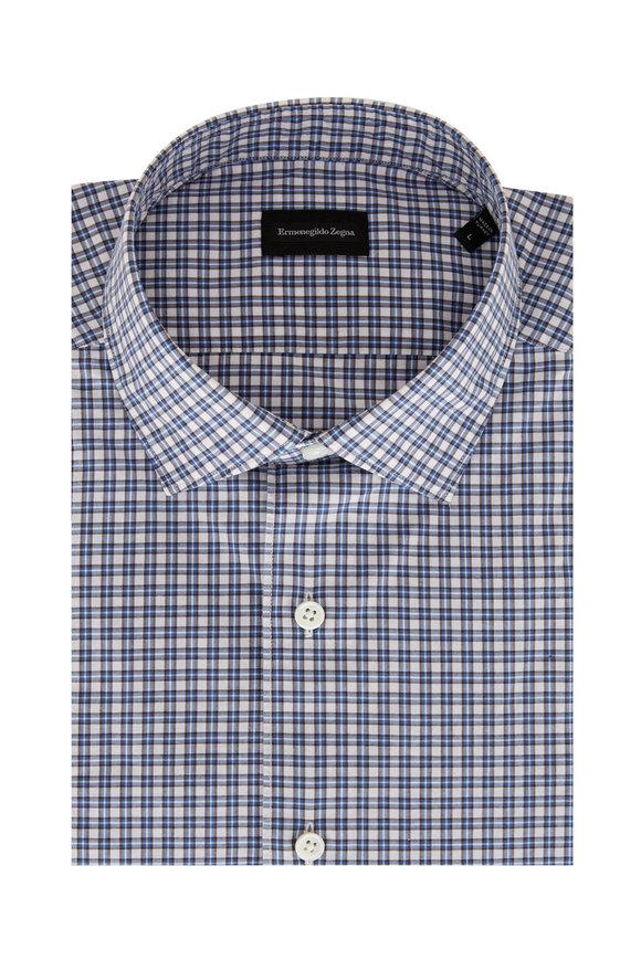 Ermenegildo Zegna Brown & Blue Check Classic Fit Sport Shirt