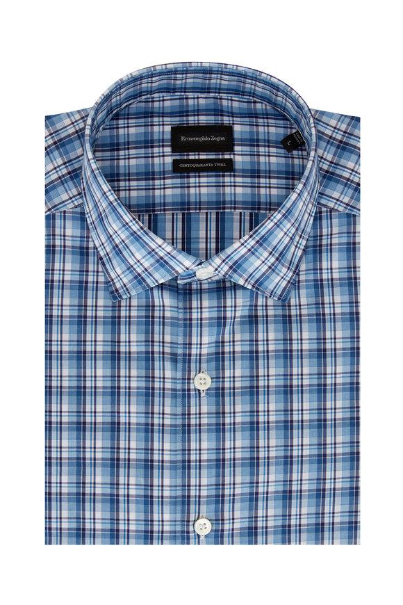 Ermenegildo Zegna Blue & Teal Plaid Classic Fit Sport Shirt