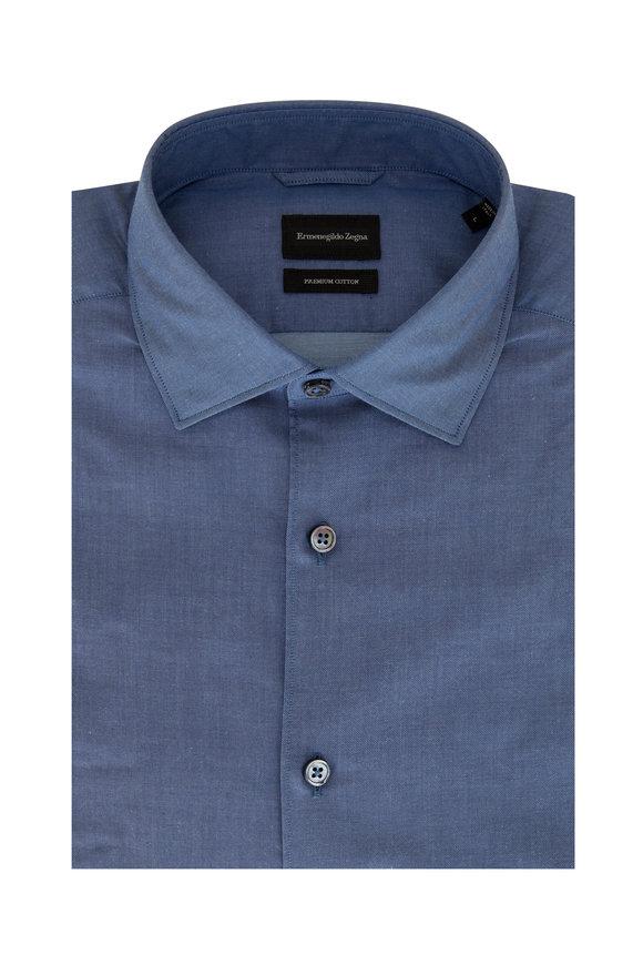 Ermenegildo Zegna Solid Denim Blue Sport Shirt