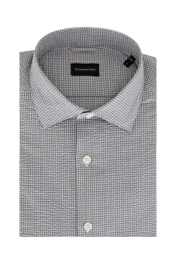 Ermenegildo Zegna Gray Check Seersucker Tailored Fit Sportshirt