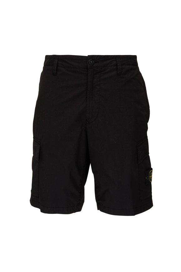 Stone Island Black Stretch Cotton Cargo Shorts