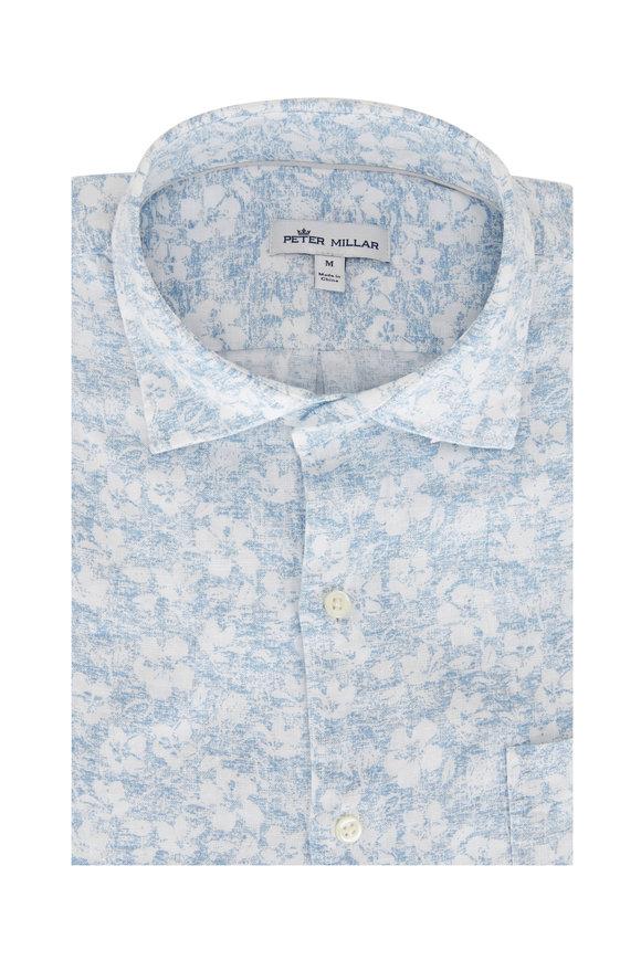 Peter Millar Blue & White Floral Short Sleeve Shirt