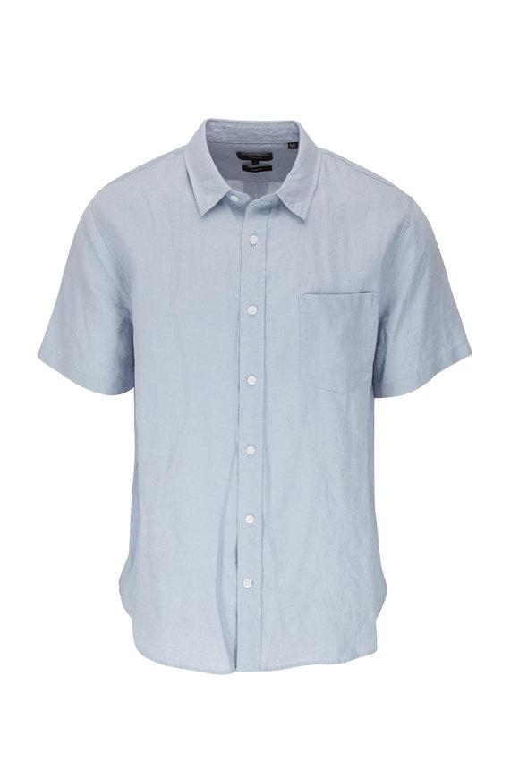 Vince Morning Blue Linen Short Sleeve Shirt