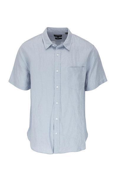 Vince - Morning Blue Linen Short Sleeve Shirt