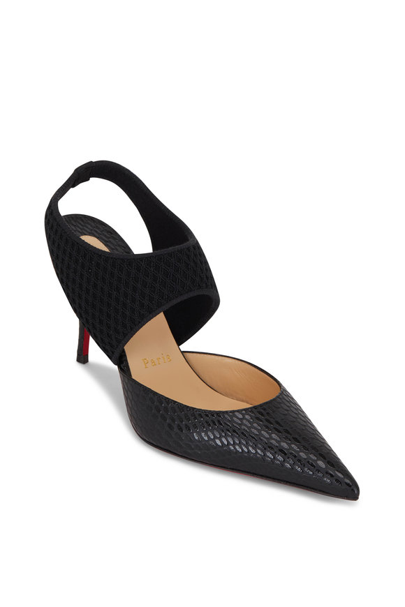 Christian Louboutin Georgette Black Leather Pointed Slingback, 80mm
