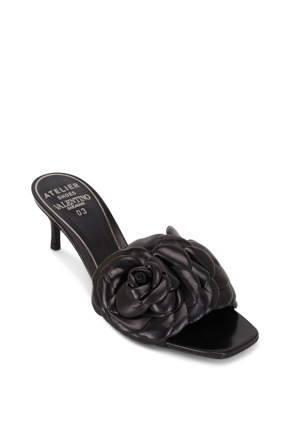 Valentino Garavani Atelier 03 Black Leather Rose Edition Slide, 55mm