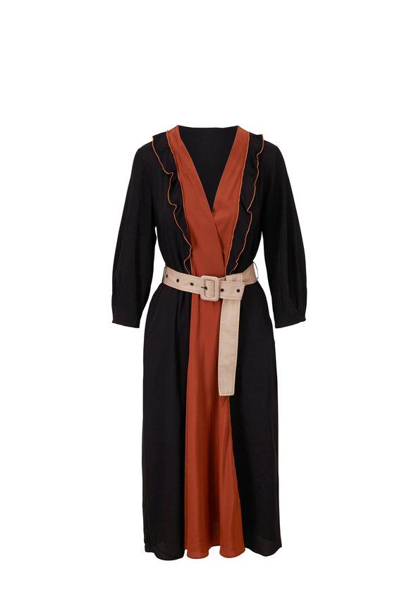 Dorothee Schumacher Colorful Volumes Camel & Black Dress