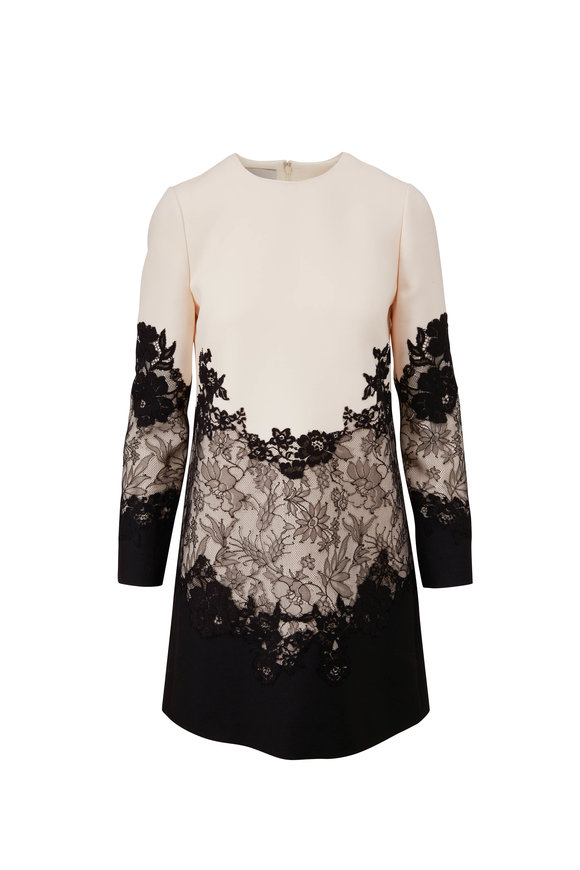 Valentino White Crepe Couture & Lace Long Sleeve Dress