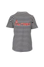 Chinti & Parker - Navy & Cream Stripe Bonjour Graphic T-Shirt