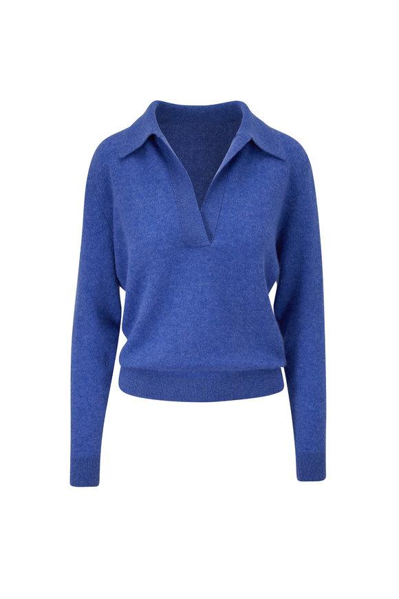 Khaite Jo Sky Blue Collared Basic Pullover
