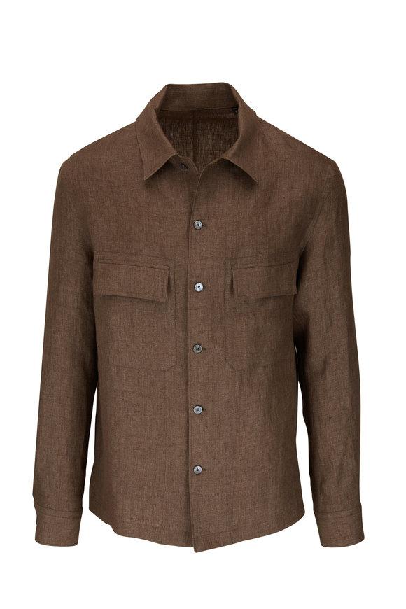 Ermenegildo Zegna Brown Linen Overshirt