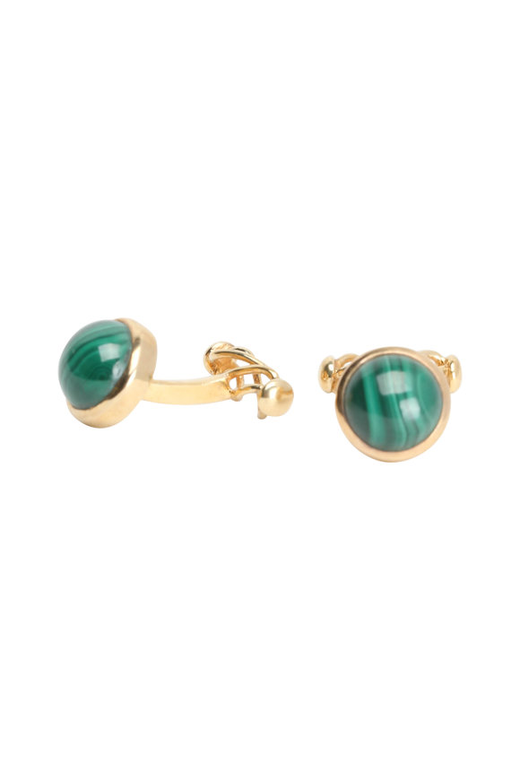 Suzanne Felsen Yellow Gold Plated Malachite Cuff Links