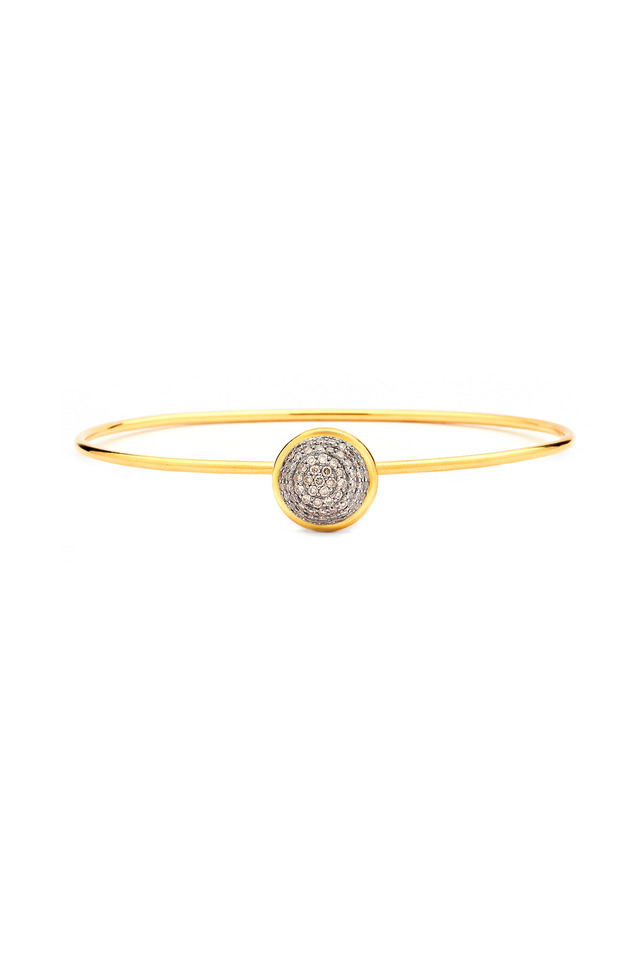 Baubles Yellow Gold Champagne Diamond Stack Bangle