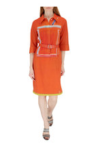 Akris - Orange Cotton Crepe Elbow Sleeve Belted Dress