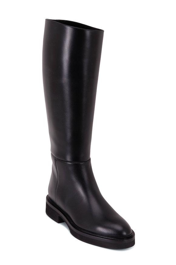 Khaite Derby Black Leather Knee High Riding Boot