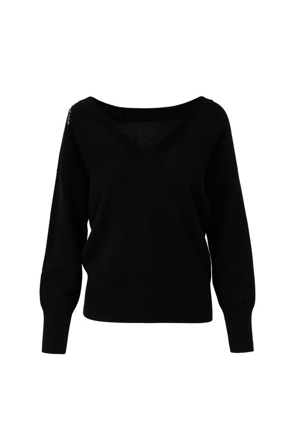 Eric Bompard Black Cashmere Reversible Sweater