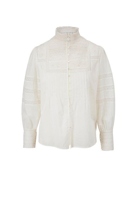 Nili Lotan Harriet Ivory Embroidered Shirt