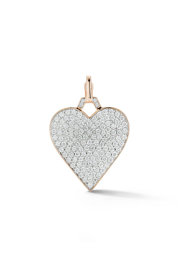 Walters Faith 18K Rose Gold All Diamond Heart Charm Necklace