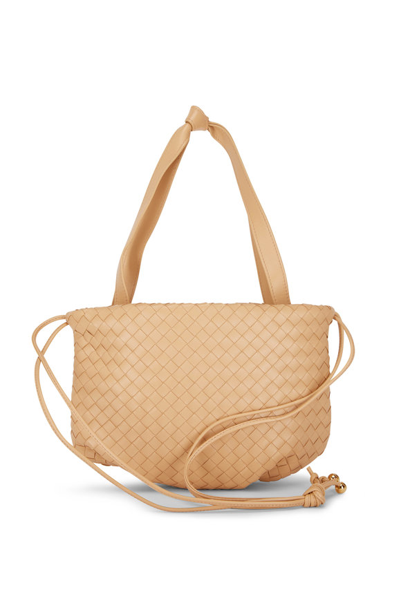 Bottega Veneta Almond Woven Leather Drawstring Bag