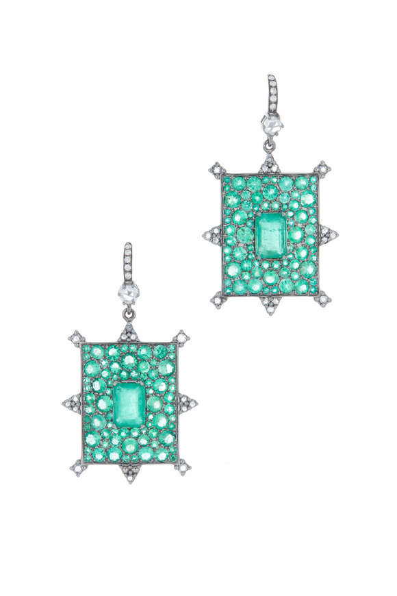 Nam Cho White Gold Emerald & Diamond Rectangle Earrings