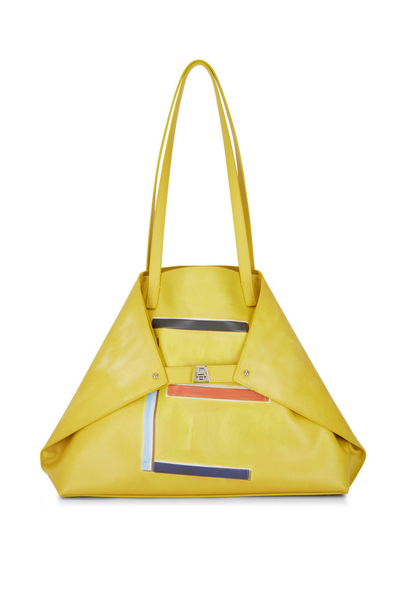 Akris Ai Yellow Leather 3D Print Medium Shoulder Bag