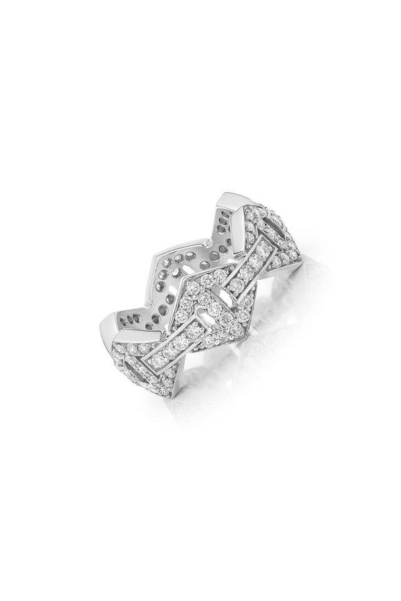 Walters Faith White Gold Keynes Diamond Hexagon Stack Ring
