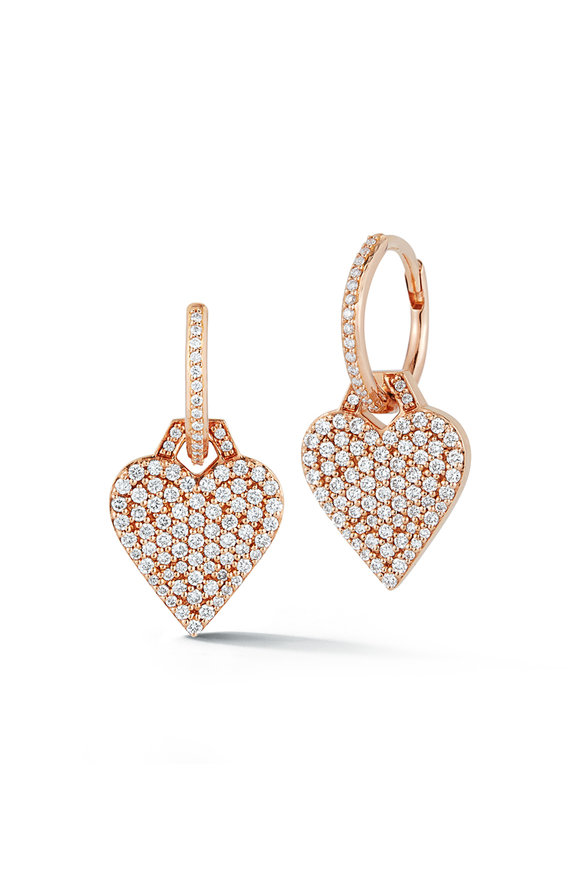 Walters Faith Rose Gold Dora Diamond Heart Charm Huggies