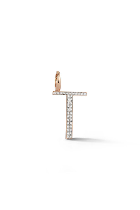 "Walters Faith 18K Rose Gold Woolf Pavé Initial ""T"" Charm"
