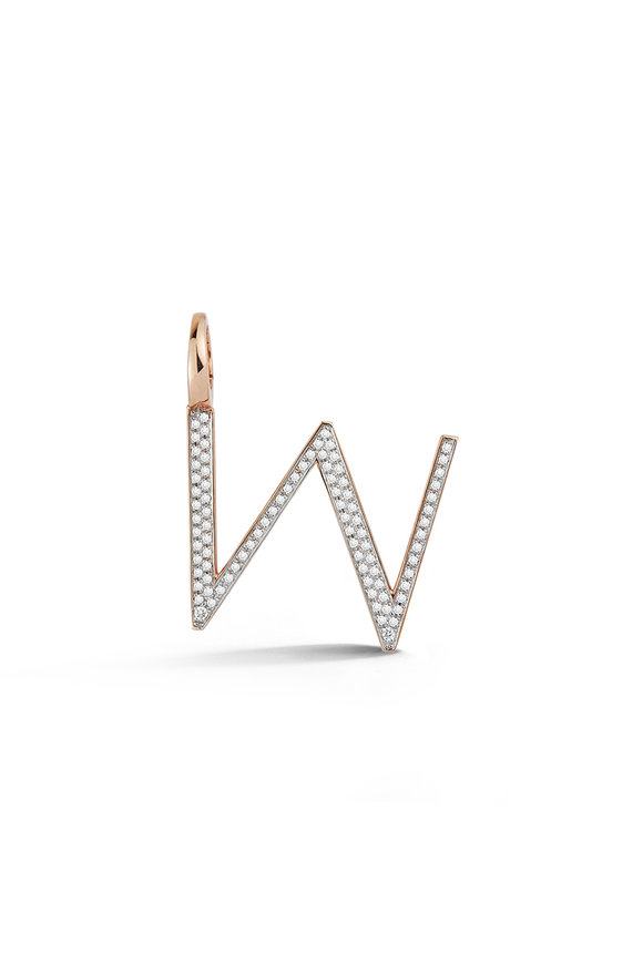 "Walters Faith 18K Rose Gold Woolf Pavé Initial ""W"" Charm"