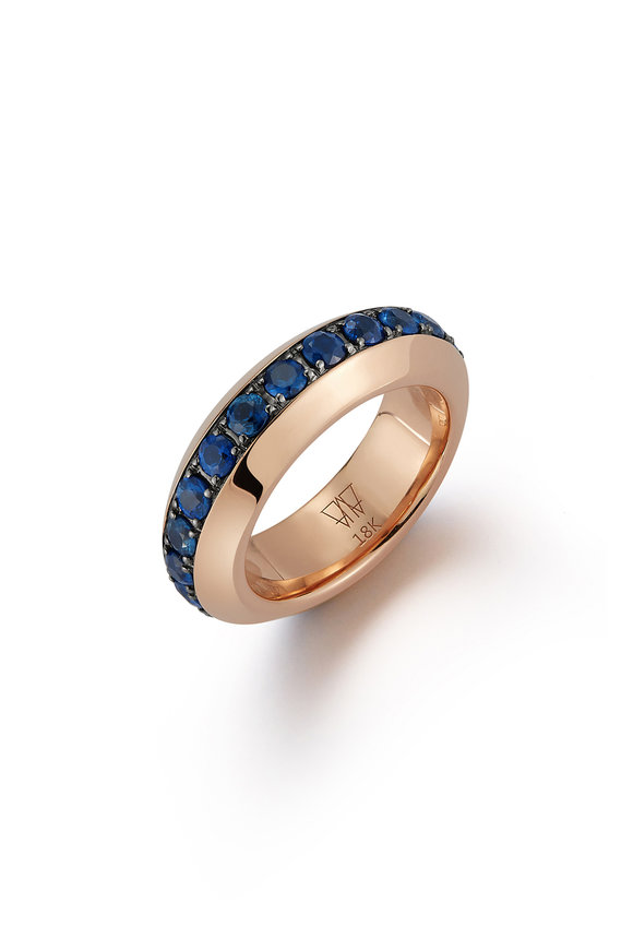 Walters Faith 18K Rose Gold Grand Sapphire Angled Band Ring