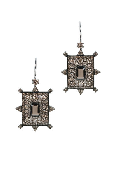 Nam Cho - White Gold Champagne Diamonds & Quartz Earrings