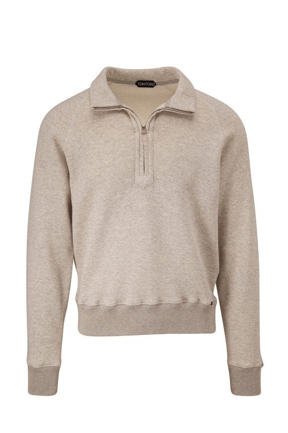 Tom Ford Gray Jersey Quarter-Zip Pullover