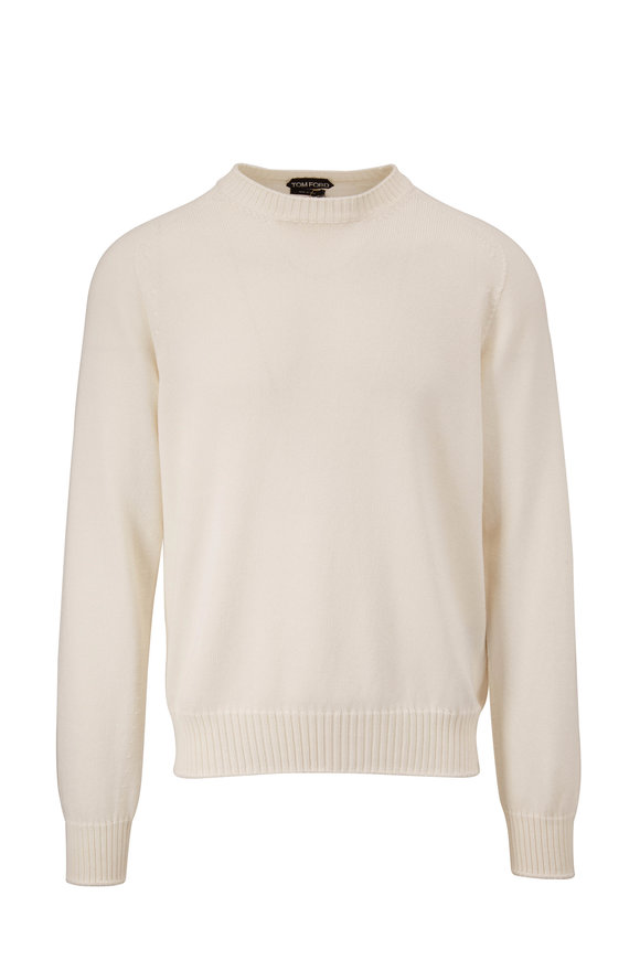 Tom Ford White Cotton & Silk Crewneck Sweater