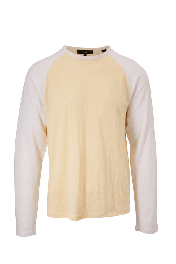 Vince Optic White & Yellow Baseball T-Shirt