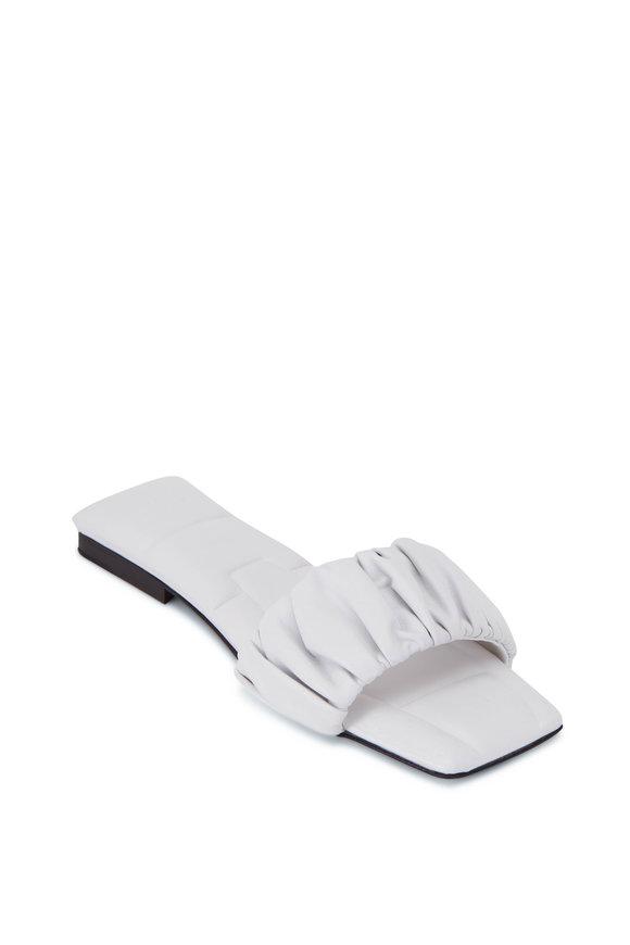 Khaite Crete White Ruched Leather Slide