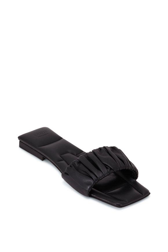 Khaite Crete Black Ruched Leather Slide