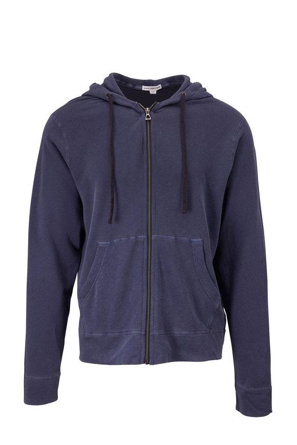 James Perse Vintage Blue Front Zip Hoodie