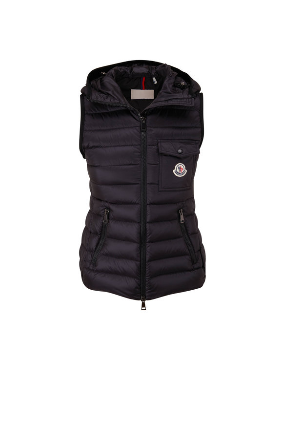 Moncler Black Hooded Quilted Puffer Vest