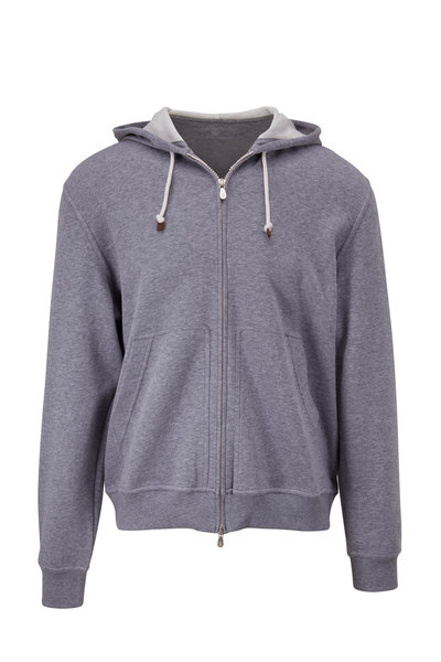 Brunello Cucinelli - Gray Full Zip Hoodie