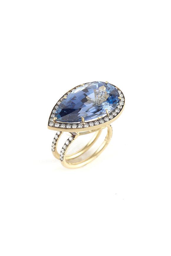 Sylva & Cie Yellow Gold Pear Shape Ceylon Sapphire Ring