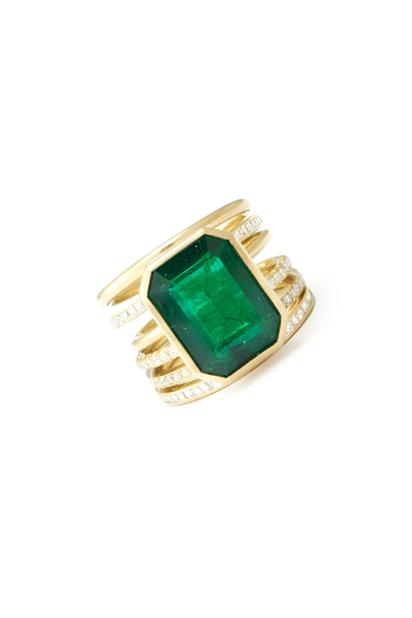 Sylva & Cie 18K Yellow Gold Mozambique Emerald Spiral Ring