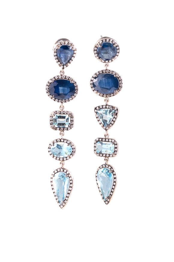 Sylva & Cie White Gold Aquamarine Long Dangle Earrings