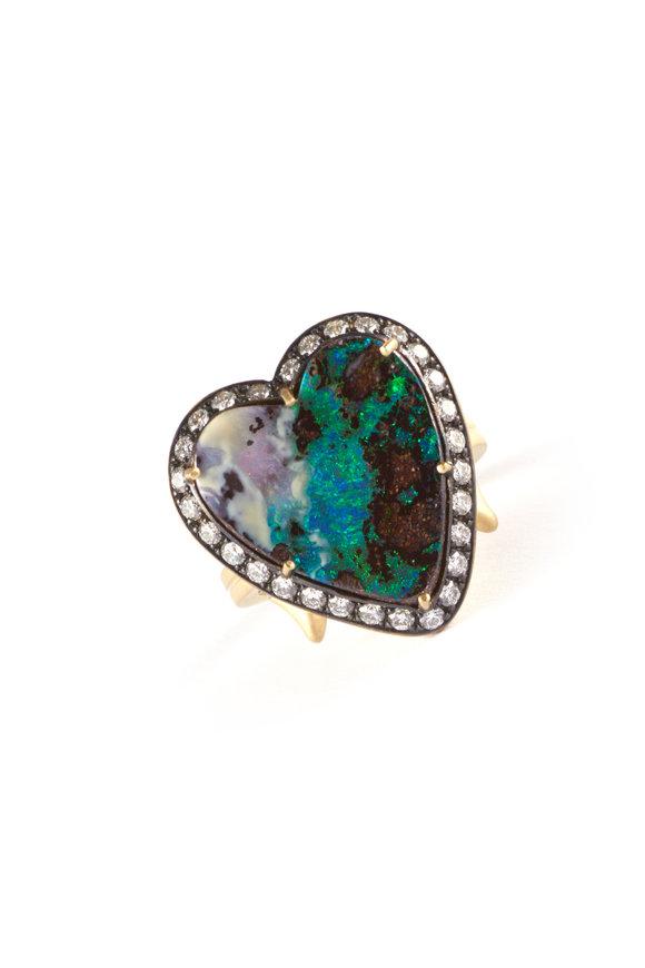 Sylva & Cie 18K Yellow Gold Opal & Diamond Heart Ring