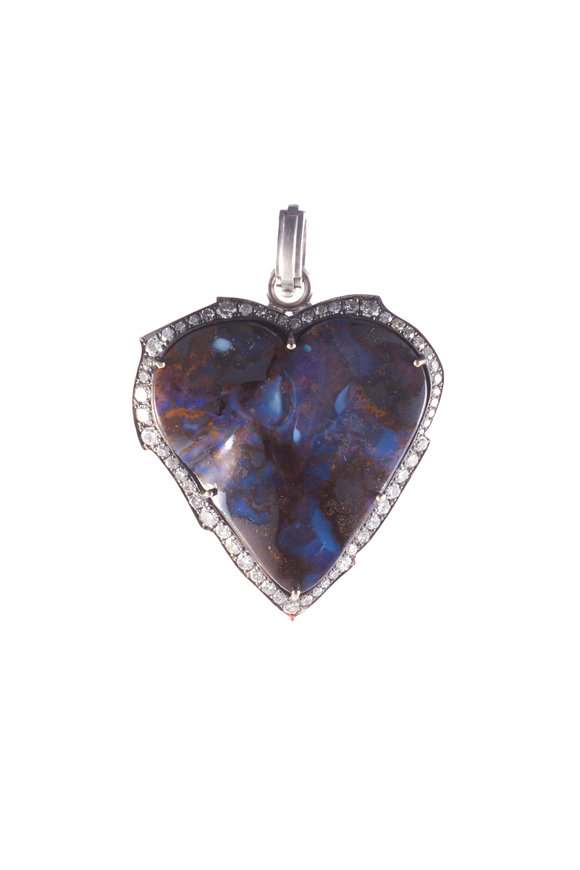 Sylva & Cie White Gold Opal & Diamond Heart Pendant